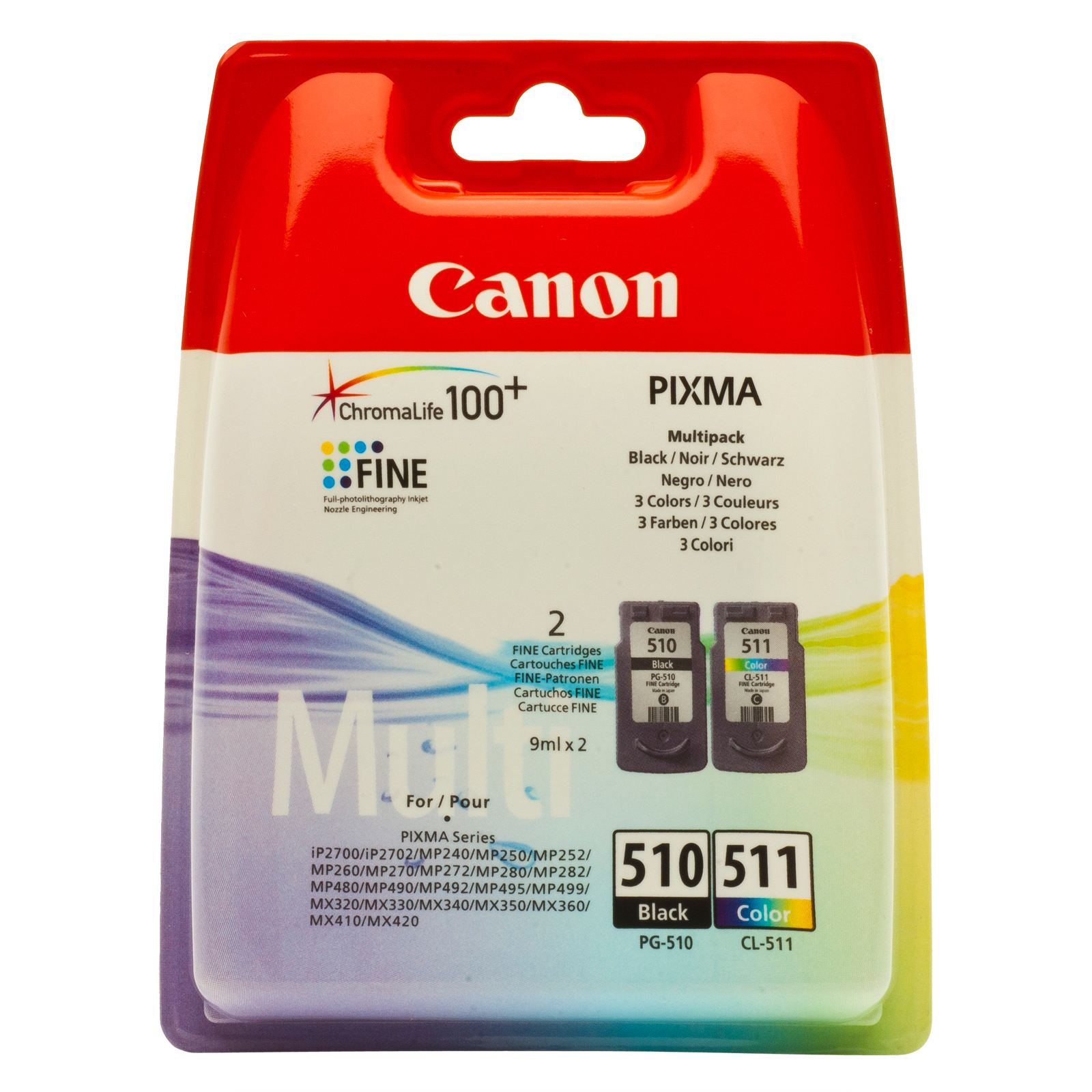 Canon Pg 510 Black Cl511 Tri Color 2 Pack Original Ink Catridge 47 100 Cl 511 Cartridge 2972b001 9 Ml For Pixma Ip2700 Ip2702 Mp240 Mp250 Mp252 Mp260 Mp270 Mp272 Mp280 Mp282